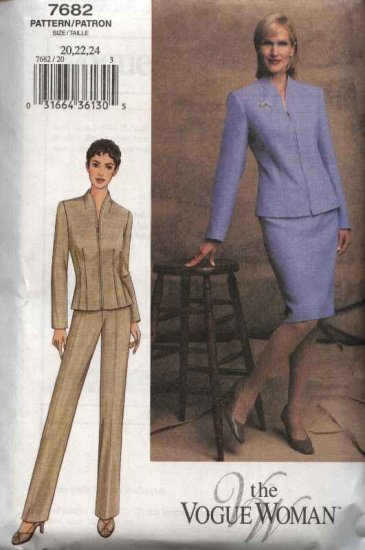 Vogue Woman Sewing Pattern 7682 Misses size 8-10-12 Easy Jacket Skirt Pants Suit Pantsuit