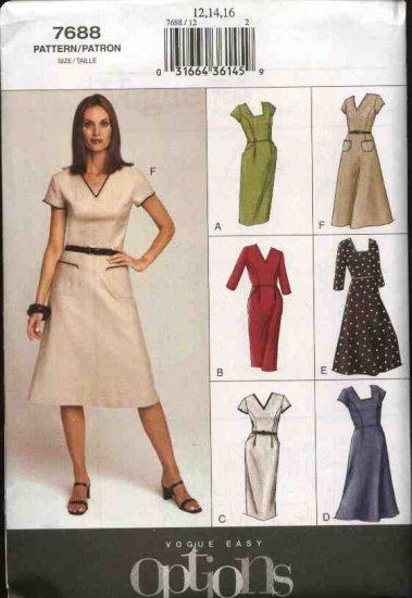 Vogue Sewing Pattern 7688 Misses Size 12-14-16 Easy Dresses Design Options