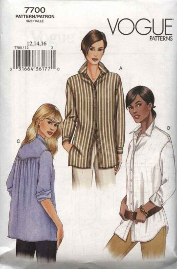 Vogue Sewing Pattern 7700 Misses Size 6-8-10 Easy Loose Fitting Shirt Top Tunic
