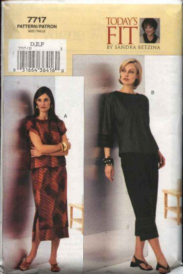 Vogue Sewing Pattern 7717 V7717 Misses Size 10-14 Sandra Betzina Top Skirt Pants