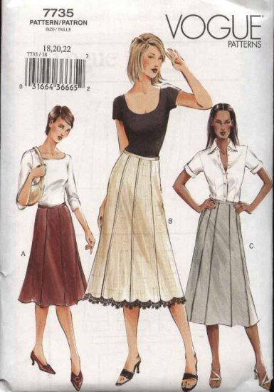 Vogue Sewing Pattern 7735 Misses size 18-20-22 Easy Fitted A-line Flared Gored Skirt
