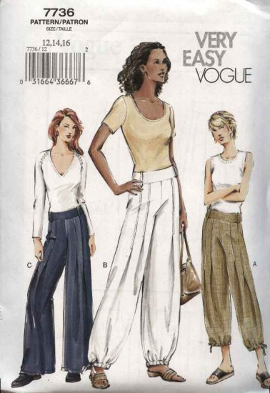 Vogue Sewing Pattern 7736 Misses Size 18-20-22 Easy Low-rise Yoke Wide legged Pants