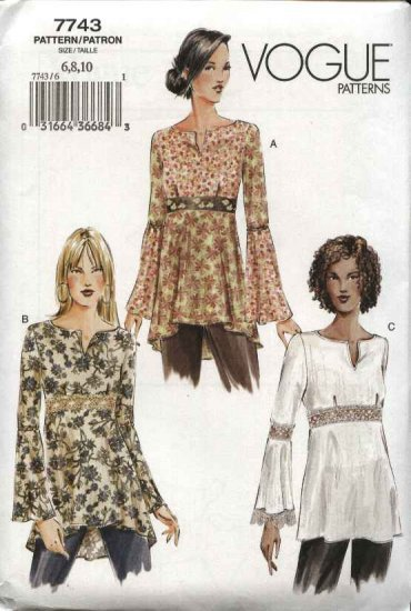 Vogue Sewing Pattern 7743 Misses Size 6-8-10 Easy Baby Doll Pullover Top