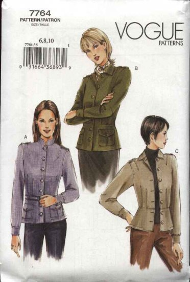 Vogue Sewing Pattern 7764 Misses Size 12-14-16 Fitted Unlined Jacket