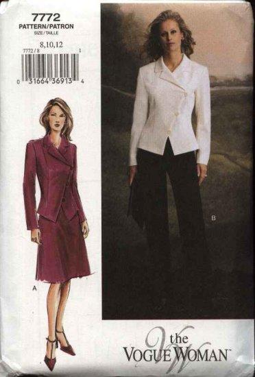 Vogue Woman Sewing Pattern 7772 Misses Size 8-10-12 Jacket Skirt  Pants Suit Pantsuit