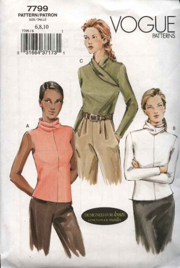 Vogue Sewing Pattern 7799 Misses Size 18-20-22 Easy Knit Tops Turtleneck Pullover