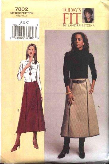 Vogue Sewing Pattern 7802 Womens Plus Size 24W-32W Sandra Betzina A-line Skirt