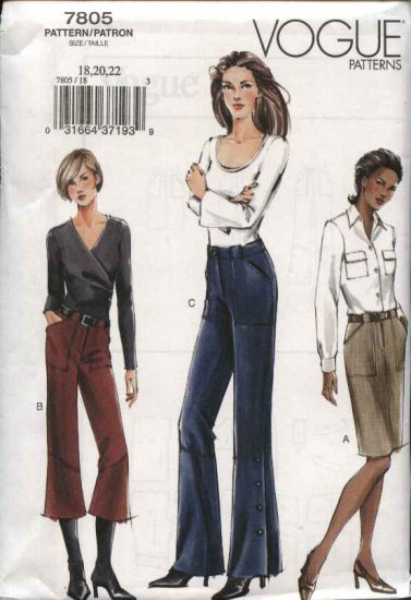 Vogue Sewing Pattern 7805 Misses Size 18-20-22 Easy Fitted Straight Skirt Wide Legged Pants Capris