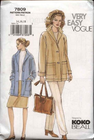 Vogue Sewing Pattern 7809 Misses Size 20-22-24 Koko Beall Easy Jacket Skirt Pants