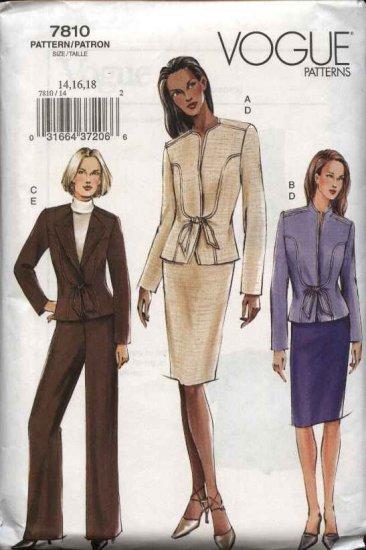 Vogue Sewing Pattern 7810 V7810 Misses Size 14-18 Fitted Jacket Skirt Pants Suit Pantsuit