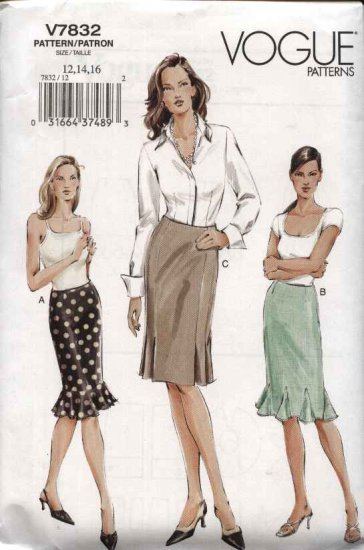 Vogue Sewing Pattern 7832 Misses Size 6-8-10 Pleated Fitted Skirt Godets