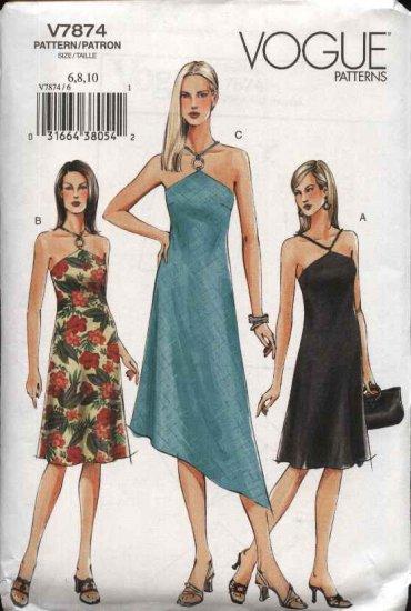 Vogue Sewing Pattern 7874 Misses Size 12-14-16 Easy Halter Summer Dress Sundress