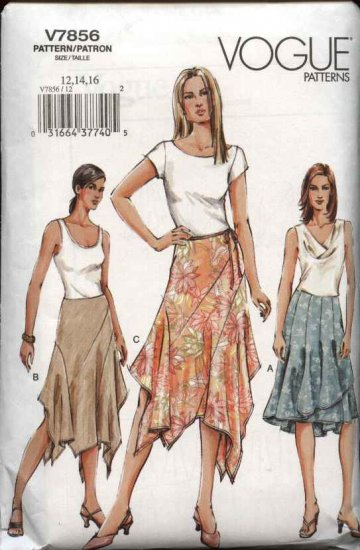 Vogue Sewing Pattern 7856 Misses size 18-20-22 Flared Asymmetrical Skirts