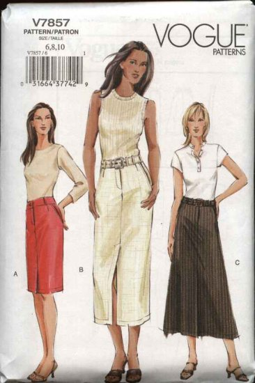 Vogue Sewing Pattern 7857 Misses size 6-8-10 Fitted Straight or Flared Skirt Belt