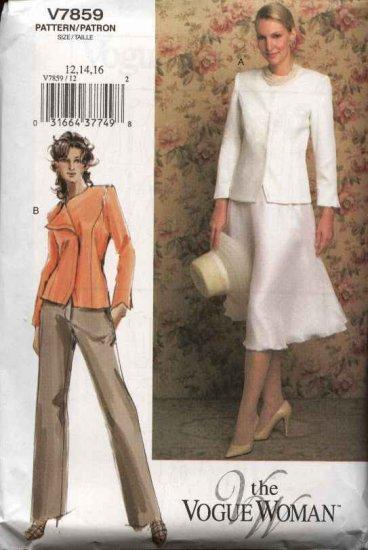 Vogue Woman Sewing Pattern 7859 Misses size 12-14-16 Jacket Skirt Pants Suit Pantsuit