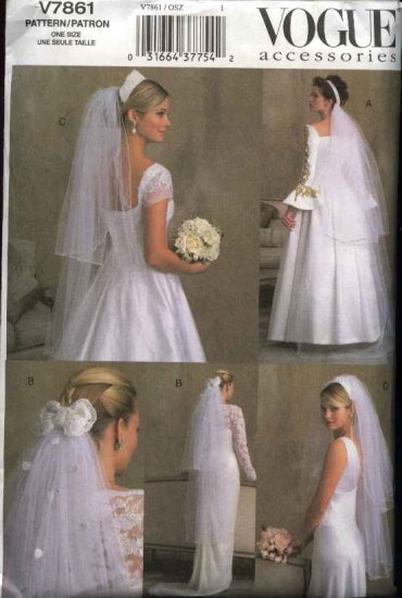 Vogue Sewing Pattern 7861 Misses Four Styles Bridal Veils Wedding Bride