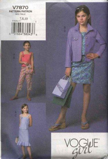 Vogue Sewing Pattern 7870 Girls size 7-8-10 Easy Blue Jean Jacket Skirt Top Pants Wardrobe