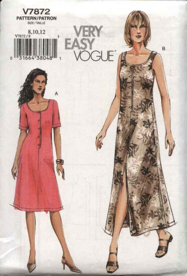 Vogue Sewing Pattern 7872 Misses Size 14-16-18 Easy Loose-Fitting Summer Dress