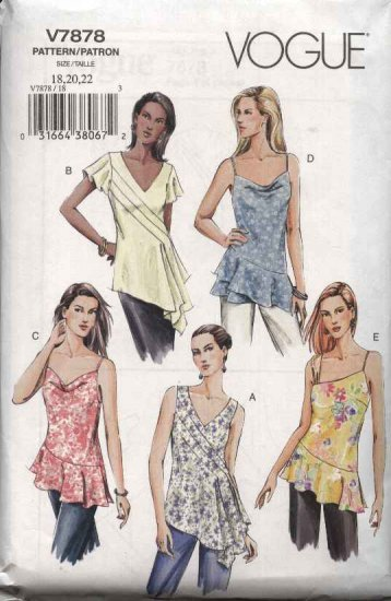 Vogue Sewing Pattern 7878 V7878 Misses Size 18-20-22 Tunic Tops