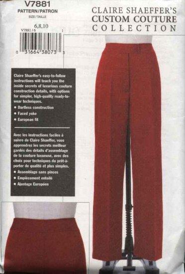 Vogue Sewing Pattern 7881 Misses size 6-8-10 Custom Couture Pants Slacks Claire Shaeffer
