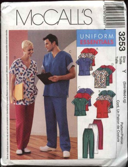 McCall's Sewing Pattern 3253 Misses Mens Unisex Chest Size 42-48 Scrub Uniforms Tops Pants