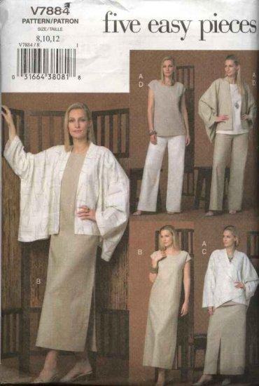 Vogue Sewing Pattern 7884 Misses size 8-10-12 Easy Wardrobe Jacket Top Dress Skirt Pants