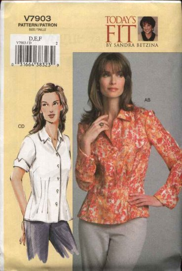 Vogue Sewing Pattern 7903 Misses 10-14 Sandra Betzina Semi-Fitted Shirt Blouse Top