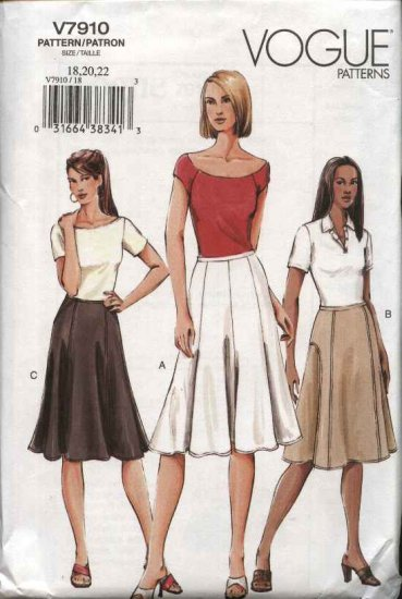 Vogue Sewing Pattern 7910 Misses Size 18-20-22 Easy Flared Skirts Three Styles