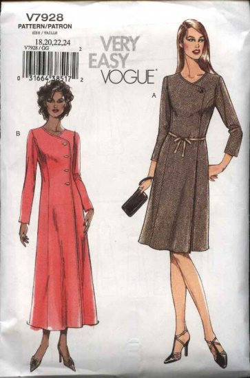Vogue Sewing Pattern 7928 Misses size 18-20-22-24 Easy Front Wrap Dress