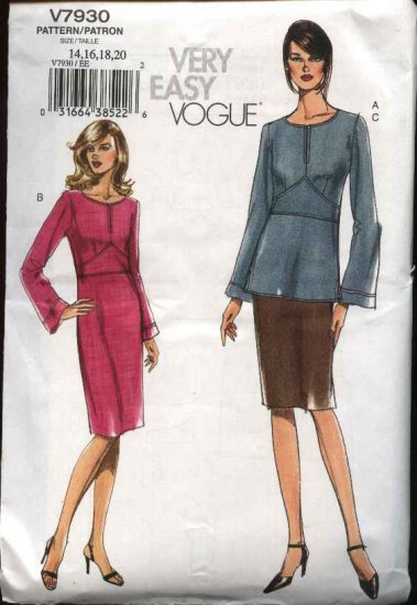 Vogue Sewing Pattern 7930 Misses size 14-16-18-20 Easy Dress Top Skirt