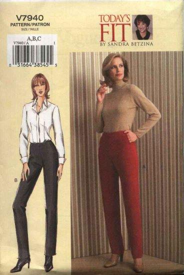 Vogue Sewing Pattern 7940 Womens Plus Size 24W-32W Sandra Betzina Easy Tapered Pants
