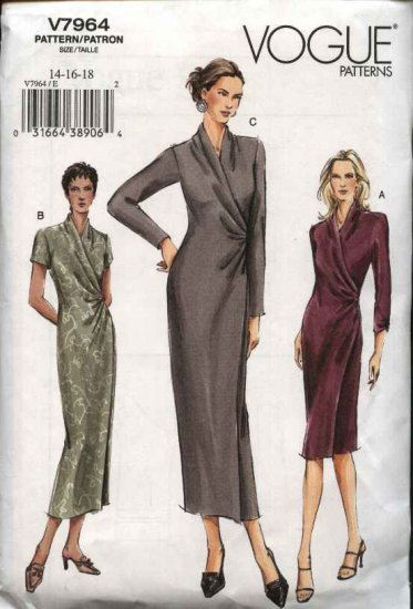 Vogue Sewing Pattern 7964 Misses Size 14-16-18 Easy Mock Wrap Knit Dress