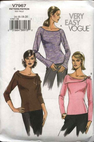 Vogue Sewing Pattern 7967 Misses Size 14-16-18-20 Easy Pullover Knit Raglan Top