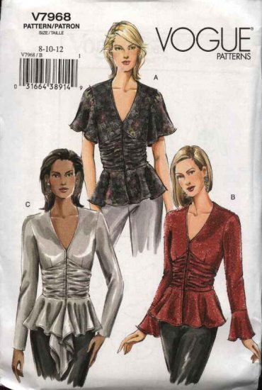 Vogue Sewing Pattern 7968 Misses Size 8-10-12 Easy Fitted Lined Peplum Top
