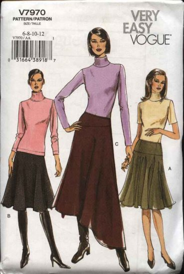 Vogue Sewing Pattern 7970 Misses sizes 14-16-18-20 Easy Flared Contour Yoke Skirt