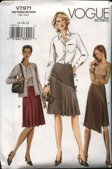 Vogue Sewing Pattern 7971 Misses Size 8-10-12 Easy A-line Contour Waist Pleated Skirt