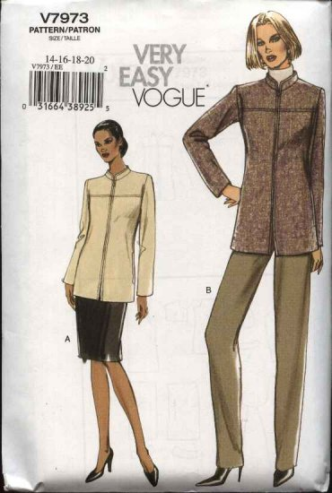 Vogue Sewing Pattern 7973 Misses Size 6-8-10-12 Easy Lined Jacket Skirt Pants Suit Pantsuit