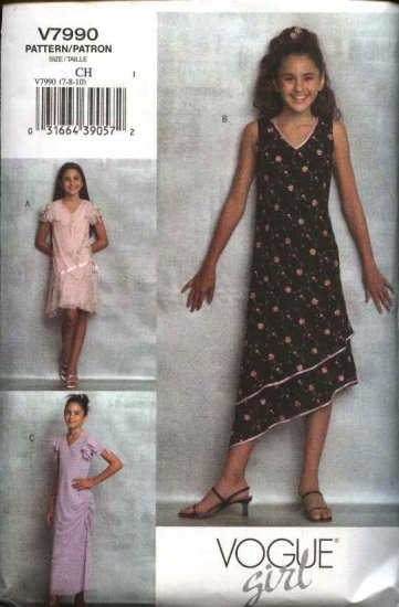Vogue Sewing Pattern 7990 Girls Size 7-8-10 Easy Pullover Dresses Sleeve Length Variations