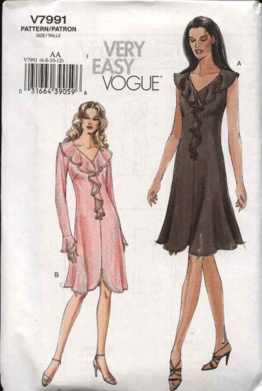 Vogue Sewing Pattern 7991 Misses size 6-8-10-12 Easy Knit  Dresses