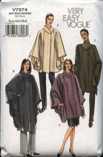 Vogue Sewing Pattern 7974 Misses Size 4-6-8-10-12-14 Easy  Unlined Capes Ponchos
