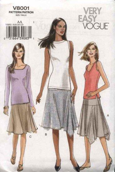 Vogue Sewing Pattern 8001 Misses Size 6-8-10-12 Easy Yoke Asymmetrical Knit Skirt