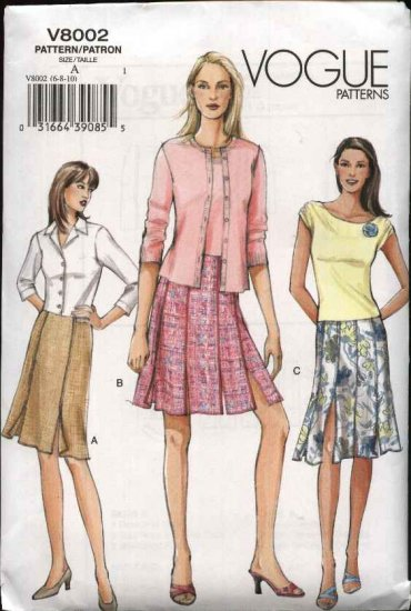 Vogue Sewing Pattern 8002 Misses Size 6-8-10 Easy Fitted Straight Skirt Two styles