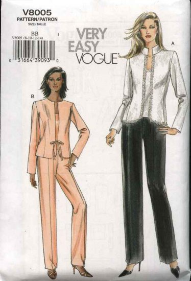 Vogue Sewing Pattern 8005 Misses Size 8-10-12-14 Easy Lined Jacket Camisole Pant