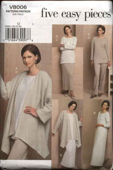 Vogue Sewing Pattern 8006 Misses Size 8-10-12 Easy Knit Wardrobe Jacket Tunic Dress Skirt Pants