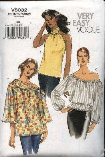 Vogue Sewing Pattern 8032 V8032 Misses Size 16-18-20-22 Easy Peasant Halter Tops