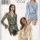 Vogue Sewing Pattern 8033 Misses Size 6-8-10-12 Easy Pullover Mock Wrap Front Top Blouse