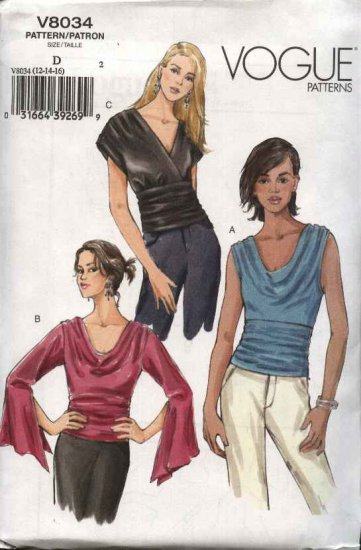 Vogue Sewing Pattern 8034 Misses Size 18-20-22 Easy Loose-fitting Tops