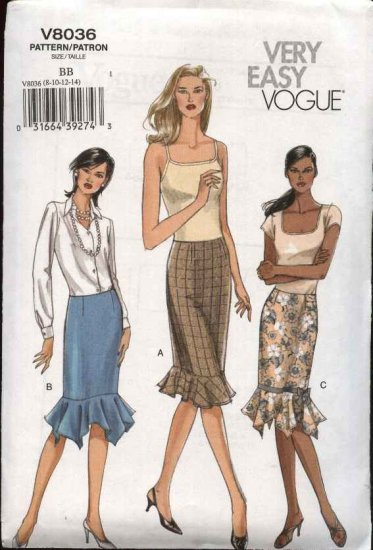 Vogue Sewing Pattern 8036 Misses Size 16-18-20-22  Easy Fitted Skirt Ruffle Hem