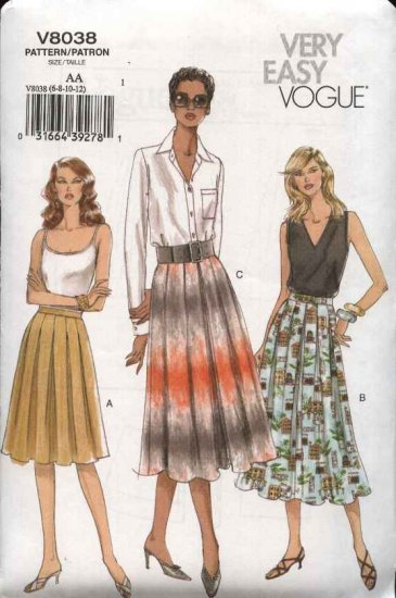 Vogue Sewing Pattern 8038 Misses Size 14-16-18-20 Easy Pleated Skirts