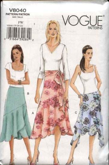 Vogue Sewing Pattern 8040 Misses Size 12-14-16 Easy Flared Shaped Skirt Sash